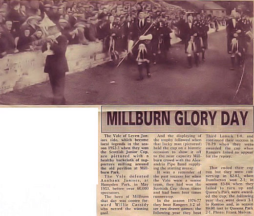 The Band parades at Millburn as the Scottish Junior Cup is displayed