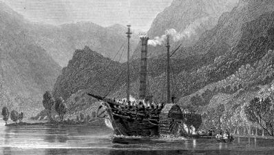 Engraving of a steamer loading passengers at the head of Loch Lomond