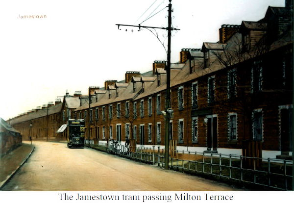 Tram passing Milton Terrace in Jamestown
