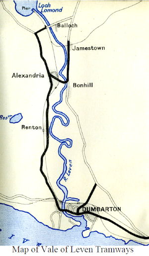 Map of Tramways in the Vale of Leven