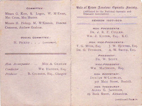 Vale Operatic Society's membership card showing office bearers